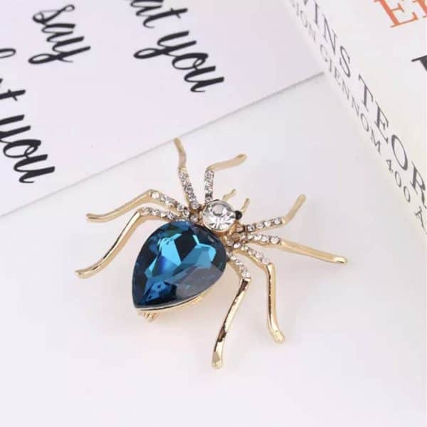 Blue-Crystal-Spider-Pin-Brooch-Marlow-Buckinghamshire-United-Kingdom-Toria-Lee-Accessories
