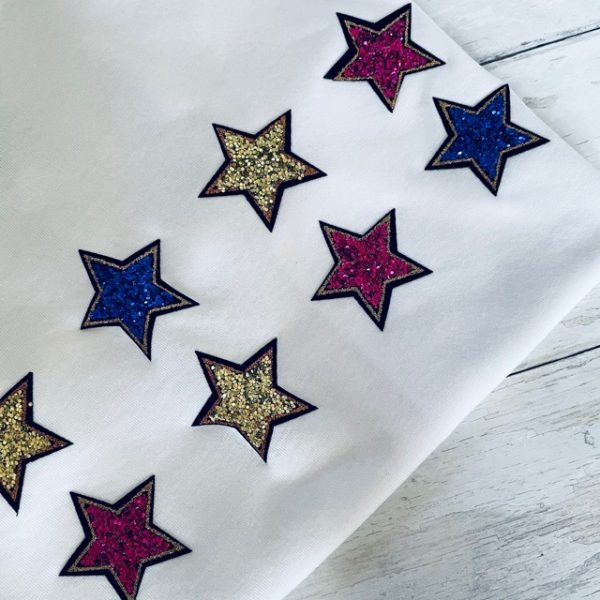 White Tee with Mulitcoloured stars