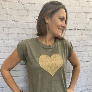 Khaki-Flowy-T-Shirt-with-Gold-Heart-Marlow-Buckinghamshire-United-Kingdom-Toria-Lee-Accessories