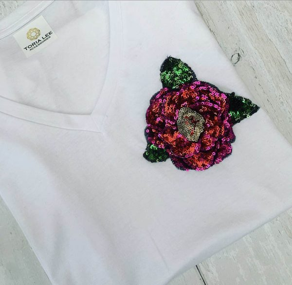 White-Sequin-Rose-T-shirt-Toria-Lee-Accessories-Marlow-Buckinghamshire-United-Kingdom