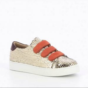 Gold-Crackled-Effect-Sneakers-Trainers-with-Orange-Velcro-Straps-Marlow-Buckinghamshire-United-Kingdom-Toria-Lee-Accessories