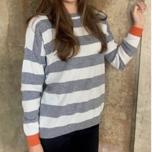 Reese-Stripe-Jumper-in-Mid-Grey-Ivory-and-Orange-Marlow-Buckinghamshire-United-Kingdom-Toria-Lee-Accessories