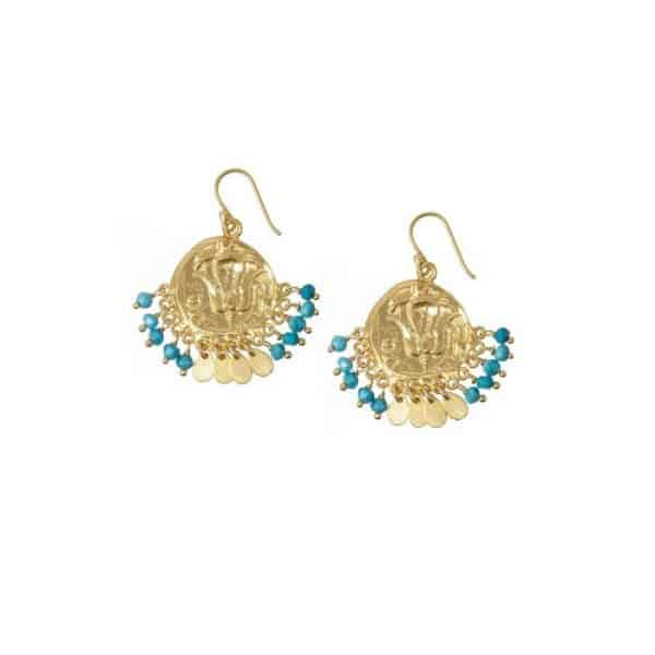 Lily-Beaded-Coin-Gold-Earrings-in-Turquoise-Marlow-Buckinghamshire-United-Kingdom-Toria-Lee-Accessories