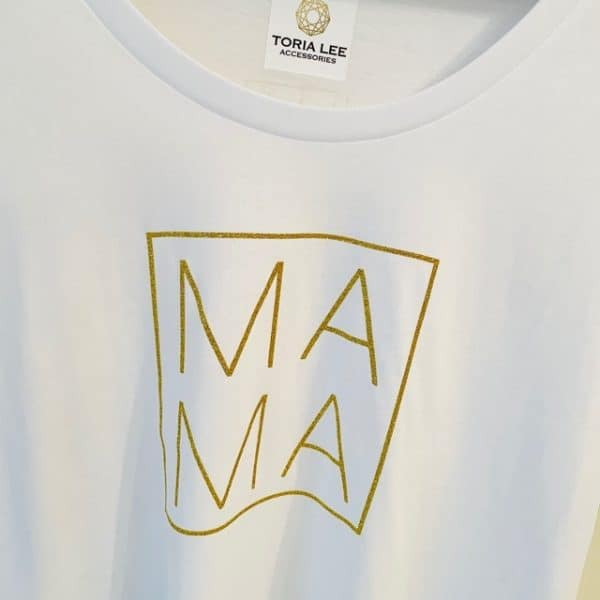 White Tee Loose Fit Mama tee in white and gold