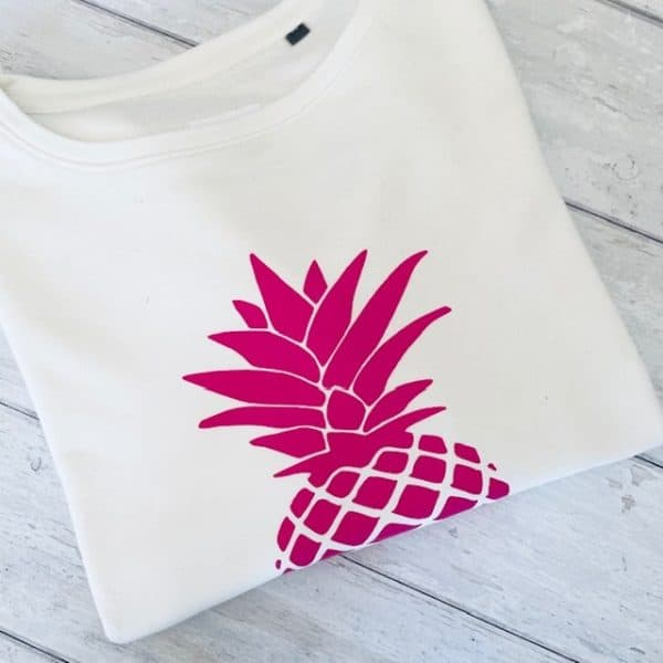 White Long Sleeve Pineapple Print Sweatshirt Bright Pink