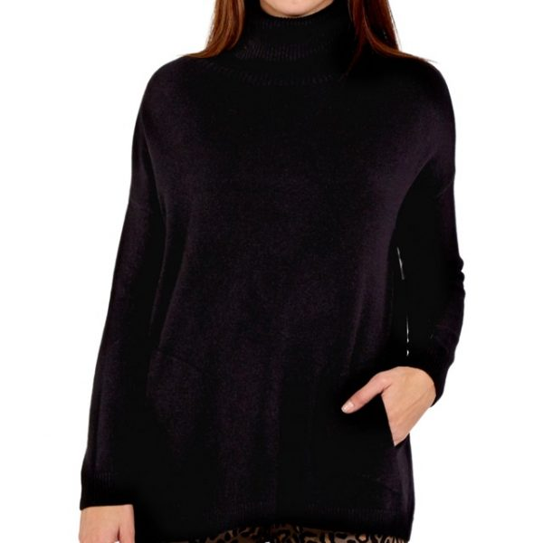 Black-Roll-Neck-Knit-Sweater-with-Pockets-Marlow-Buckinghamshire-United-Kingdom-Toria-Lee-Accessories