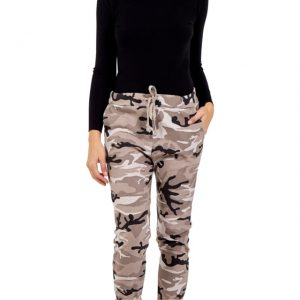 Camo Pattern Sparkly Magic Trousers in stone