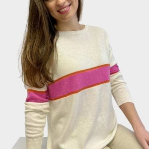 remi-cashmere-sweater-in-ivory-hot-pink-orange-gold-lurex-with-stripes-Toria-Lee-Accessories-Marlow-Buckinghamshire-Loungewear-Sports-Luxe-Luxury-Designer-Clothing-Summer-Fashion-On-trend-Wimbledon-Village-Hampstead-Soho-Farmhouse-The-Ned
