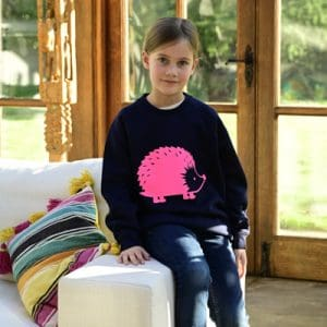KiGirls-Navy-Sweatshirt-with-Neon-Pink-Hedgehog-Marlow-Buckinghamshire-United-Kingdom-Toria-Lee-Accessories