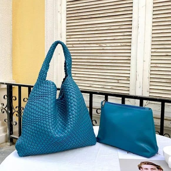 Teal-Leather-Weave-Tote-Bag-with-Pouch-Marlow-Buckinghamshire-United-Kingdom-Toria-Lee-Accessories