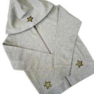 Kids Grey Zip Through Hoodie with Gold Stars