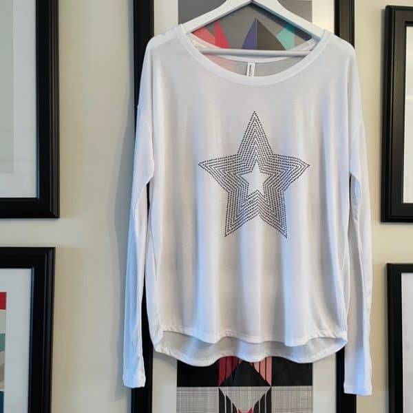Long Sleeve Tee in White with Black Star
