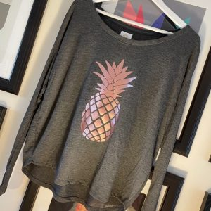 Grey-Long-sleeve-T-Shirt-with-Rose-Gold-Pineapple-Design-Marlow-Buckinghamshire-United-Kingdom-Toria-Lee-Accessories