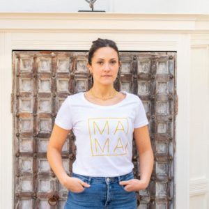 Mama-White-Slim-Fit-Cotton-T-Shirt-Toria-Lee-Accessories-Marlow-Buckinghamshire-Glamour-Out-on-the-town-night-out-casual-t-shirt-designer-t-shirt-bespoke-clothing-stylish-chic-london-blogger