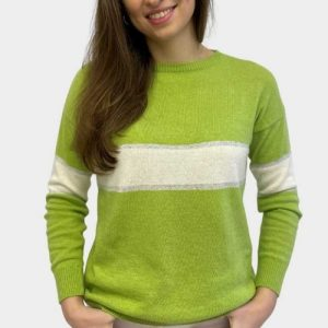 Remi-cashmere-Knit-Sweater-in-Lime-Ivory-Silver-Marlow-Buckinghamshire-Toria-Lee-Accessories-Sporty-On-Trend-Spring-Summer-Fashion-Boutique