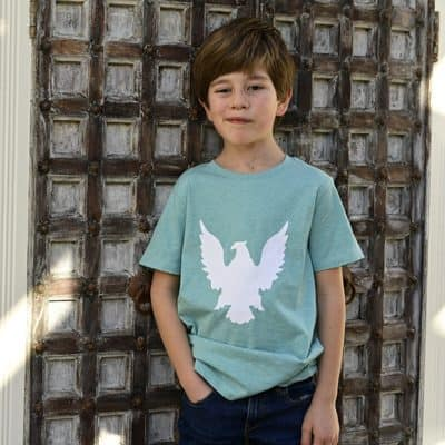 Eagle Tee - Green tee with a white eagle motif