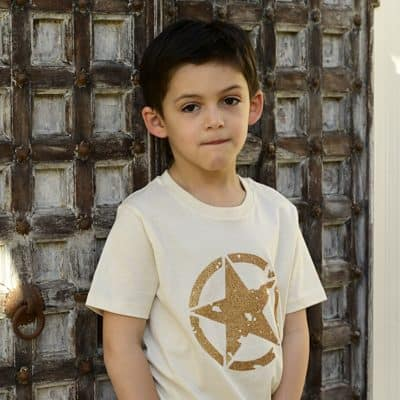 Kids-Natural-T-Shirt-with-Gold-Army-Design-Marlow-Buckinghamshire-United-Kingdom-Toria-Lee-Accessories
