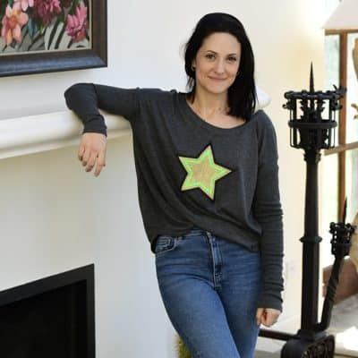 Grey-Long-Sleeve-T-Shirt-with-Neon-Green-Gold-and-Black-Star-Marlow-Buckinghamshire-United-Kingdom-Toria-Lee-Accessories