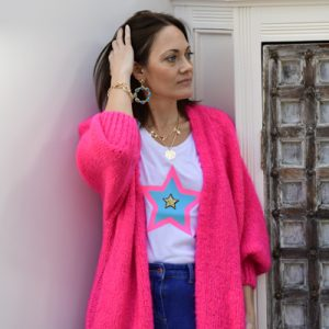 White-Slim-Fit-T-shirt-with-Neon-Pink-and-Turquoise-Star-Marlow-Buckinghamshire-United-Kingdom-Toria-Lee-Accessories-Neon-Bespoke-T-Shirt-Kings-Road-Designer-T-Shirt-Designer-Tee-White-T-Shirt-Yummy-Mummy-Trendy-On-Trend-New-Style-Designer-Label-Style-Chic