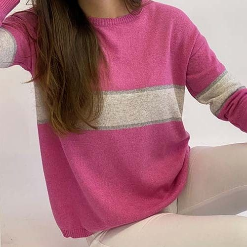 remi-cashmere-knit-sweater-in-hot-pink-ivory-silver-sports-lux-stripes-Toria-Lee-Accessories-Marlow-Buckinghamshire-Luxury-Cashmere-Cashmere-Sweater-Lime-jumper-On-Trend-Spring-Summer-Fashion-Ladies-wear-Mummy-Blogger-Style-London-Fashion