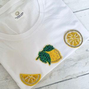 White-Cotton-Scoop-Neck-T-Shirt-with-Embroidered-Lemons-Marlow-Buckinghamshire-Toria-Lee-Accessories-Designer-T-Shirt-Bespoke-T-Shirt-beaded-Tee-beach-summer-t-shirt-fashionista-statement-t-shirt
